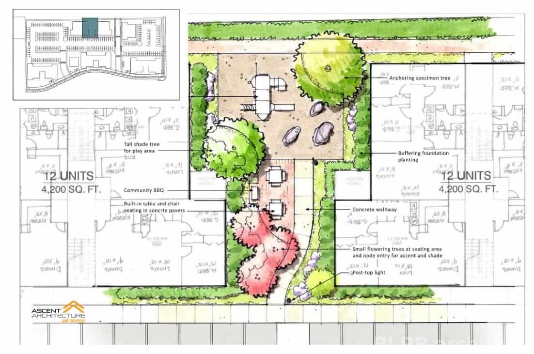 The Site Plan For A 100 Unit Apartment Complex Landscape Design By Szabo Architecture Llc Bend Oregon