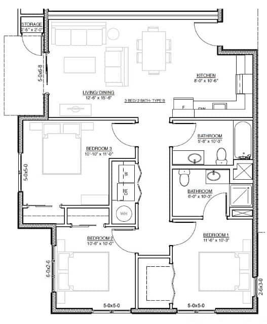 Architectural drawings of 3 bed room flat home design ideas - Architectural plan of two bedroom flat with dining room ...
