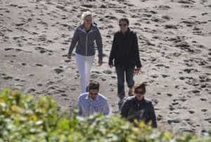 From top left, Ascent design professionals Emily Freed and Sara Bergby join Michelle Anderson and Ascent principal architect Seth Anderson for a stroll on the beach during a break in the 2016 AIA-Oregon Design Conference.