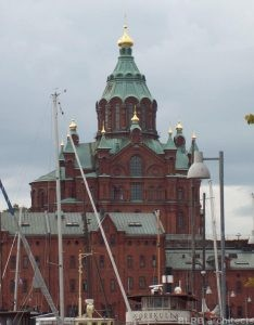 The Uspenski Cathedral in Helsinki, Finland, displays some of the architectural style of the Nordic country.